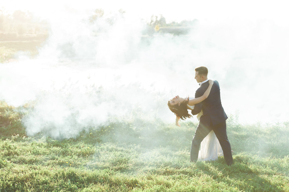 Bride and Groom Smokebomb photo session at The Arlington Estate