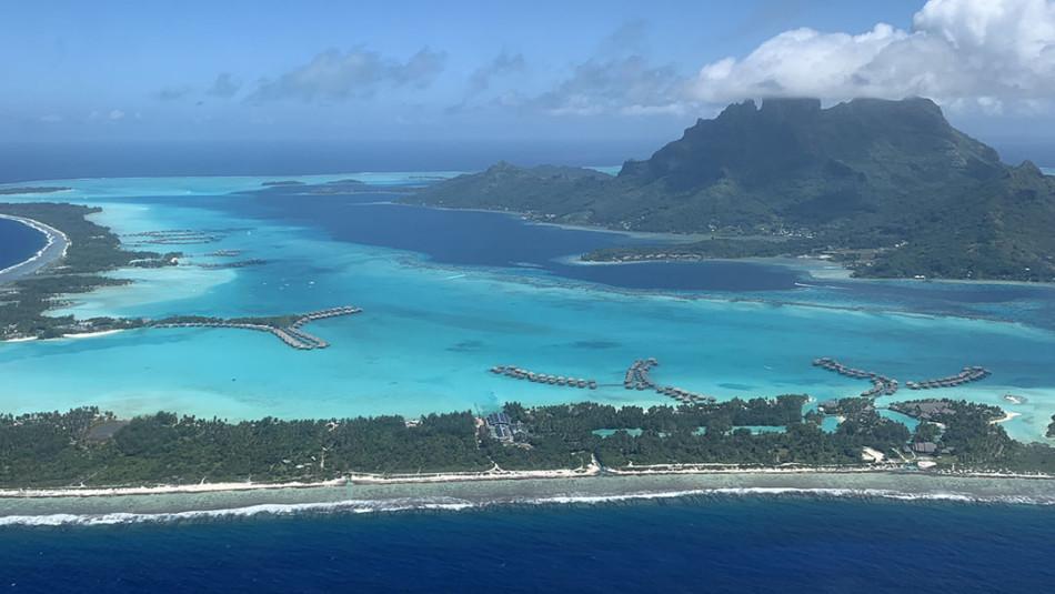 Aerial Shot of Bora Bora from Air Tahiti Nui Plane