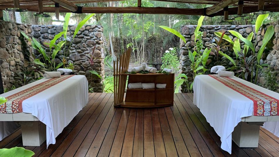 Couples massage open air room at the Tavai Spa Pearl Resort in Bora Bora